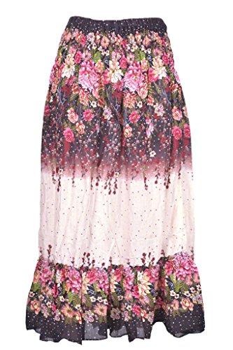 Jupe-Fleur-ie-Femme-Fille-t-vase-Ethnique-Femme Taille Elastique de PANTI Guru Noir avec Beige Teint du Couleur