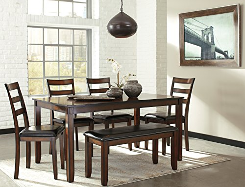 6 PC Chrovia Casual Brown Color Dining Room Table Set, Table, 4 Chairs, Bench