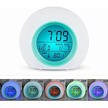 Wake Up Light Alarm Clock for Kids Child Toddler Adult, Premium Digital Display Clock with Temperature & Nature Sound - 7 Colors Changing
