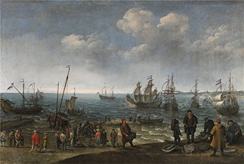 Oil Painting 'Willaerts Adam Playa Con Pescadores 1627', 30 x 45 inch / 76 x 114 cm , on High Definition HD canvas prints is for Gifts And Bath Room, Kitchen And Study Room Decoration by LuxorPre