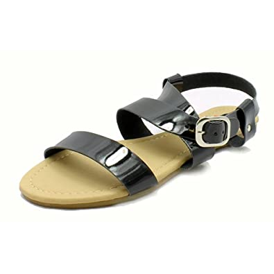 7fdda979e29 SendIt4Me Ladies Patent Gladiator Style Flat Sandals  Amazon.co.uk  Shoes    Bags