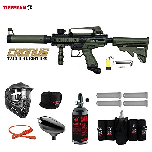MAddog Tippmann Cronus Tactical Elite HPA Paintball Gun Package - Black/Olive