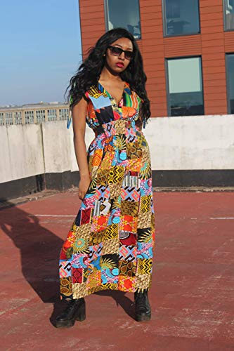 - Patchwork Dress/African Dress/African Print Maxi Dress/Continent Clothing/With Pockets/Maxi Dress in Patchwork/Colourful Dress
