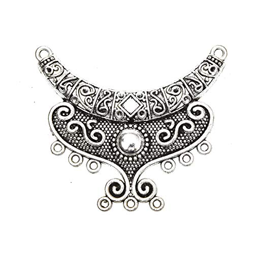 Monrocco 5pcs Moon Chandelier Components Links Tibetan Antique Silver Alloy Connector Charms Pendant for Necklace Bracelet Dangle Earring DIY Jewelry Making ()
