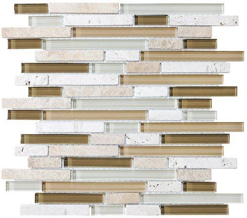 Sample - Bliss Bamboo Stone and Glass Linear Mosaic Tiles - bathroom walls/kitchen backsplash