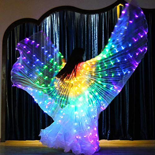CapsA Wings Glow Light Up Belly Dance Costumes with Sticks Performance Clothing Carnival Halloween LED Belly Dance Angel Wings with Telescopic Sticks (Red)