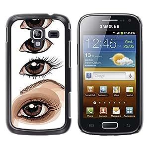 GOODTHINGS Funda Imagen Diseño Carcasa Tapa Trasera Negro Cover Skin Case para Samsung Galaxy Ace 2 I8160 Ace II X S7560M - dibujo ojo artista lección de pintura