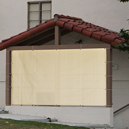 Alion Home Sun Shade Privacy Panel with Grommets on 4 Sides for Patio, Awning, Window Cover, Pergola or Gazebo - Banha Beige (10' x (Knitted Shade Panel)