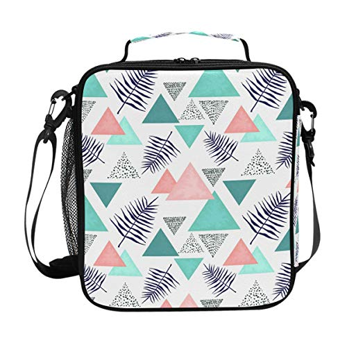 Indigo Leaves Triangles Lunch Box Tote Reusable Insulated School Cooler Bag for Women ()