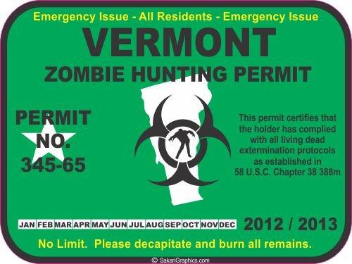 Vermont zombie hunting permit decal bumper sticker