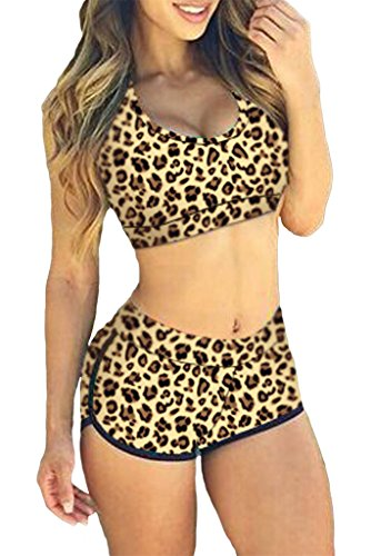Happy Sailed Women Quiet Sports Bikini Swimsuit, Medium Leopard(2 pieces)
