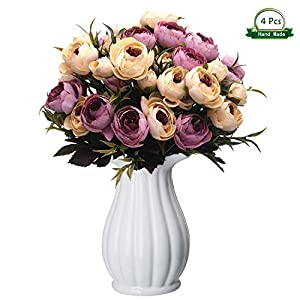 Wansong 4bundles Artificial Roses Flowers, Plastic Plants Faux Simulation Lifelike Wedding Indoor Outdoor Bridal Bouquet Home Garden Office Kitchen Bathroom Balcony Party Arrangement Decoration 108