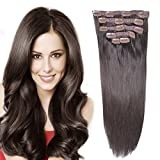 "14""Remy Human Hair Clip in Extensions for Women Thick to Ends Dark Brown(#2)"