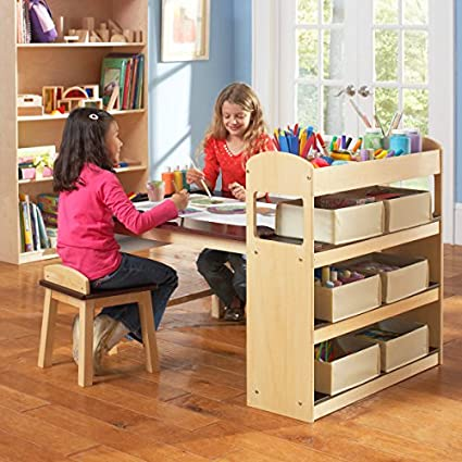 Phenomenal Guidecraft Deluxe Art Center Drawing And Painting Table For Kids W Two Stools Craft Supplies Storage Shelves Canvas Bins Paper Roll Preschool Interior Design Ideas Truasarkarijobsexamcom