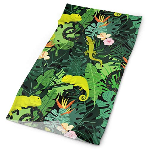 TDynasty Chameleons and Salamanders Scarf Head Wrap Fashion Headwear Bandanas Versatile Scarves Face Masks for Outdoor UV Protection