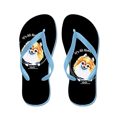 CafePress Pomeranian IAAM - Flip Flops, Funny Thong Sandals, Beach Sandals Caribbean Blue