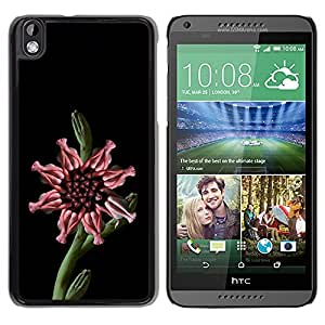 MOBMART Carcasa Funda Case Cover Armor Shell PARA HTC DESIRE 816 - Feminine Pink Flower With Stalk
