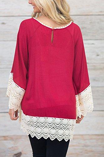 Damen Patchwork Bluse Tunika Kleid lässig Spitzenkleid