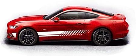 Wangscanis Universal Gestreifte Auto Aufkleber Car Racing Body Auto Karosserie Seitenstreifen Aufkleber Für Alle Autos Weiß Auto