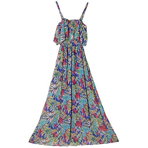 Strandkleid Shown rückenfreies Printed Sommer As Kleider Frau Chiffon wCFqXp
