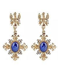 Coromose Women Magnificent Cross Shaped Charm Crystal Ear Studs Dangle Earrings (Blue)
