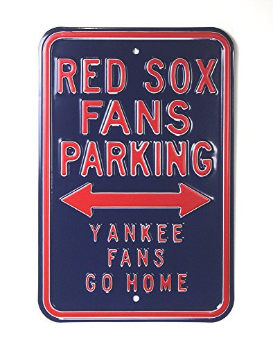 (Boston Red Sox Officially Licensed Authentic Steel 12x18 Blue Parking Sign - Yankee Fans Go Home )