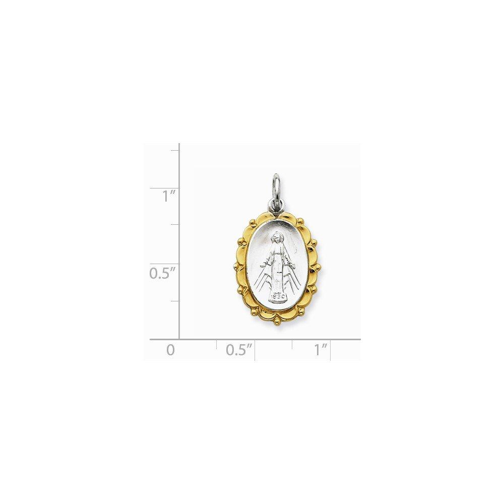 .925 Sterling Silver /& Vermeil Miraculous Medal Charm Pendant