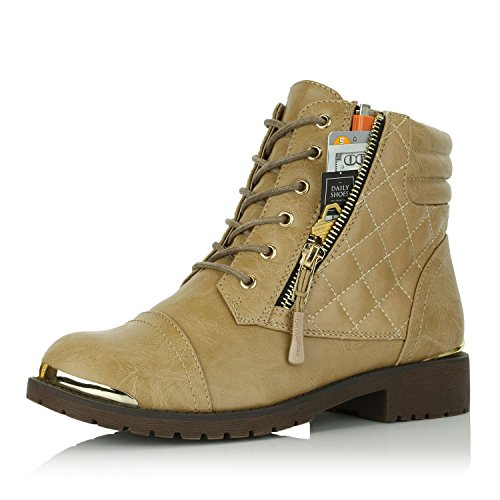 Plate Exclusive Buckle Gold Credit Up Women's Card Ankle Combat High Boots DailyShoes Beige Pocket Military fOUwwq