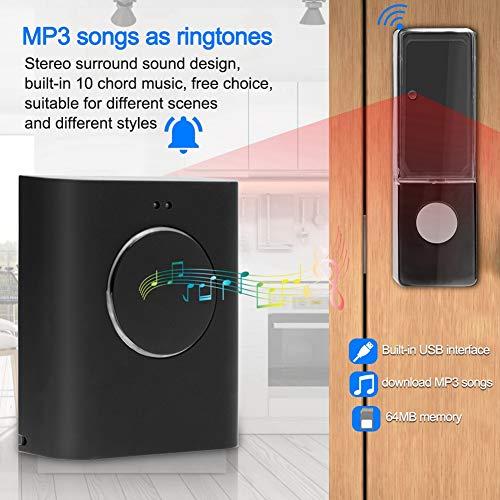 Waterproof Wireless DoorBell Door Chime Kit 200M Remote Home MP3