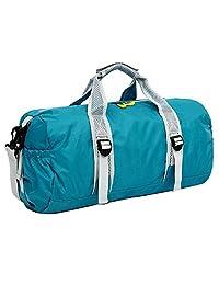 Baiyu Foldable Duffel Bag Waterproof Sporty Backpack Handbag Luggage Nylon Fitness Yoga Packaway Gear Bag Lightweight Holdall Unisex for Gym Travel Outdoor Vocation 49*25*24cm 4 Colors-Blue