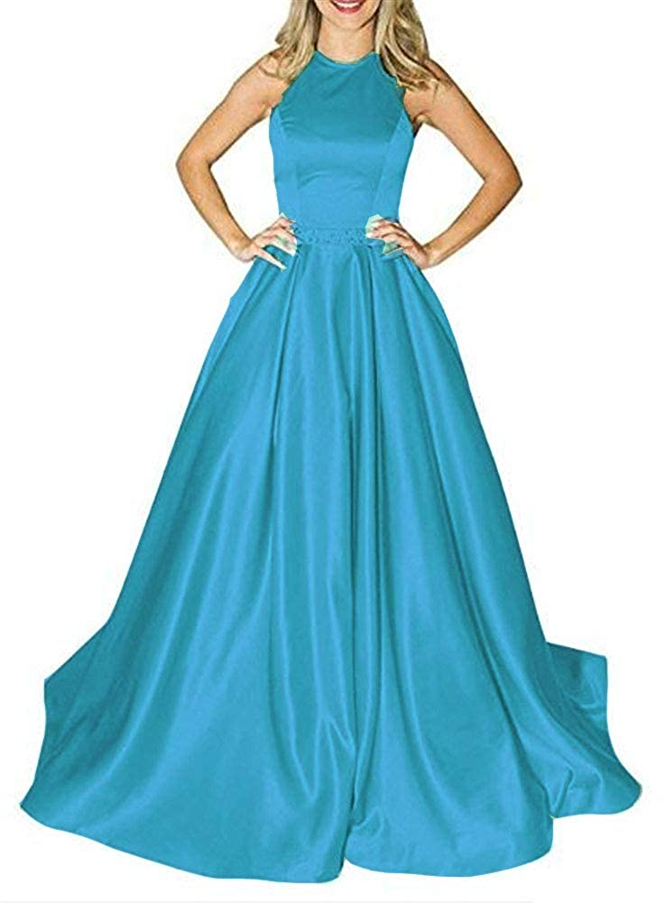 bluee Yuki Isabelle Women's Halter Beaded Backless Long Formal Evening Wedding Dresses with Pockets