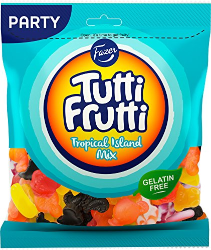 - Fazer Tutti Frutti Tropical Island Mix of Fruity & Licorice Wine Gums Candy - Sweets - Party Bag - 350g