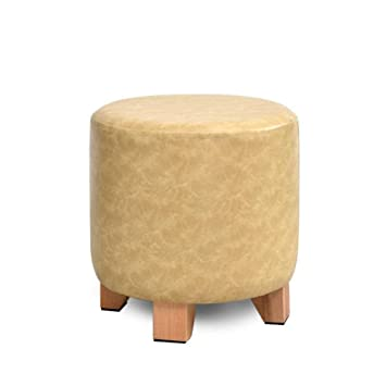 Beau Home Furniture Footstools Upholstered Footstool Round,Leather Ottoman  Footrest Stool With 4 Wood Feet