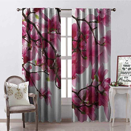 - Hengshu Japanese Cherry Blossom Branch Room Darkening Wide Curtains Waterproof Window Curtain W84 x L84