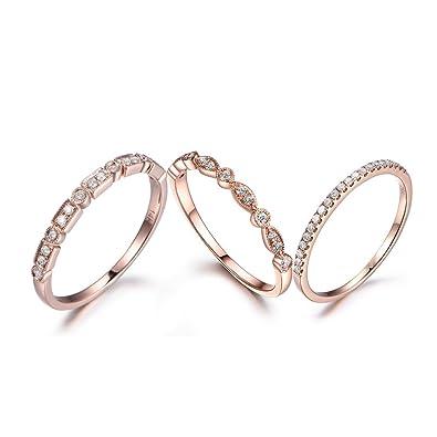Amazon Com Myraygem Wedding Ring Sets Diamond Stacking Band 14k