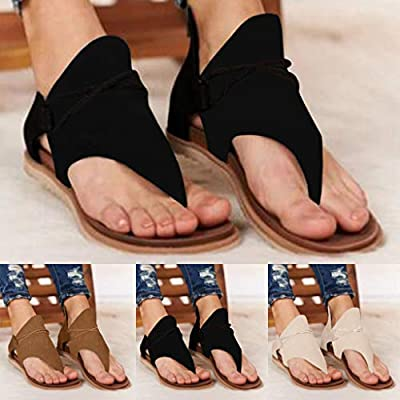Sandals for Women Flat, Comfy Sandals Ladies Casual Ankle Strap Flat Sandals Summer Beach Vocation Travel Flip Flop Shoes: Clothing