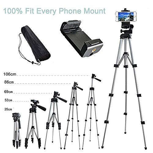 Alovexiong 110cm General Portable Camera Tripod Stand Holder Adjustable Rotatable Retractable Tripods + Smartphone Clip Holder Mount For iPhone 5 6S 7 8 9 Plus X Phone LG Video Camera GoPro by Alovexiong (Image #9)