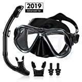 OUTERDO Snorkeling Set for Adults, Snorkel Mask with Ventilation Pipe Easy Breath, Wide View Diving Mask Anti Fog Anti Leak, Professional Snorkeling Gear for Snorkeling/Diving/Swimming