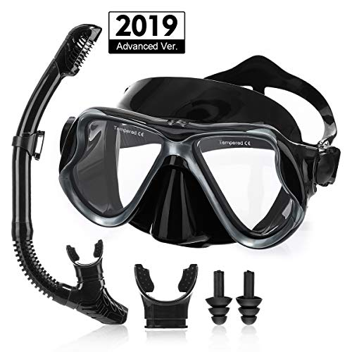 - OUTERDO Snorkeling Set for Adults, Snorkel Mask with Ventilation Pipe Easy Breath, Wide View Diving Mask Anti Fog Anti Leak, Professional Snorkeling Gear for Snorkeling/Diving/Swimming(Black)