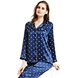 Womens Silk Satin Pajamas Set Sleepwear Loungewear Blue XL