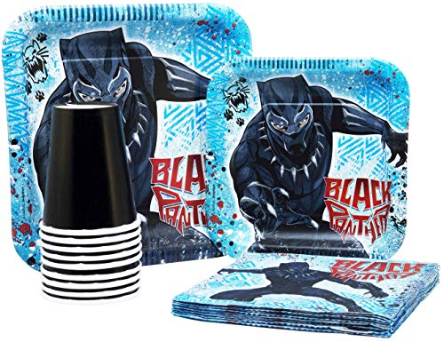 Black Panther Birthday Pack! Disposable Paper Plates, Napkins & Cups Set for 15 (With free extras)