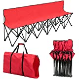 Giantex Portable Folding 6 Seats Chair Sideline Bench W/Seat Backs & Carry Bag Sports Team Camping (Red)