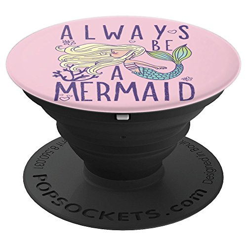 Always Be A Mermaid Young Blond Mermaid Blowing Bubbles - PopSockets Grip and Stand for Phones and Tablets