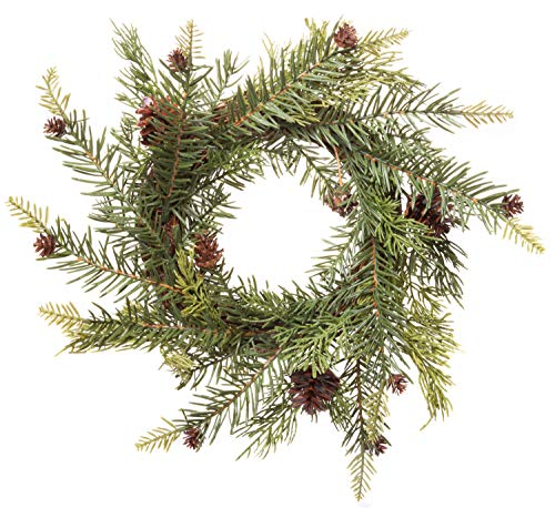 Red Co. Artificial Winter Pine & Juniper Wreath - Great Front Door and Wall Christmas Decoration - 13 Inches