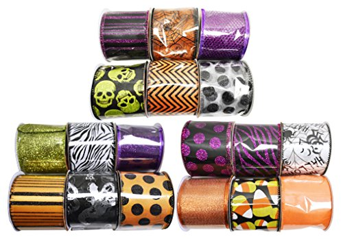 Set of 18 Halloween Wired Ribbon Rolls! 3 Yards of Ribbon Per Roll! Spooky Halloween Decorations Perfect for Classrooms, Schools, Parties and More! (18, Set of All Rolls) -