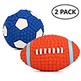 HLovebuy Squeaky Dog Ball Toys Pet Squeak Chew Ball Toys Interactive and Chewing Durable Latex Balls Non-Toxic Latex Clean Teeth for Small Medium Large Dog (Blue and Red) For Sale