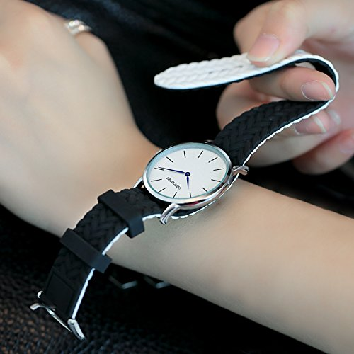 Top Plaza Unisex Casual Simple Silicone Strap Analog Quartz Watch Unique Reversible Doulbe Color Band Japanese Quartz Movement Waterproof Watch(Black and White) by Top Plaza (Image #1)