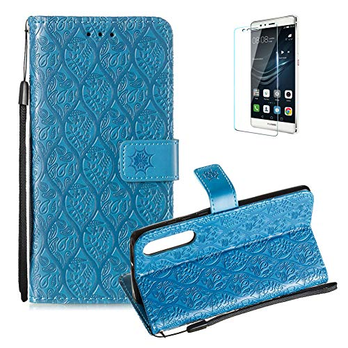 Cool Rattan Cover (For Huawei P30 PU Leather Wallet Case [Free Screen Protector],Magnetic Flip stand Function with Cards Slot Cash Pockets Embossed Rattan Flowers Pattern Soft Silicone Cover for Huawei P30,Blue)