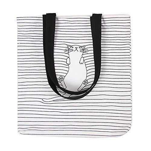 Caixia Women's Black Stripe Lazy Cat Print Canvas Tote Bag Beige