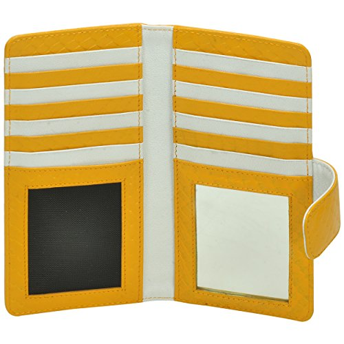 With Fold Clutch Bi Removable Yellow Wristlet Wallet Women's Purse Wallet Premium Strap Leather UqOHn5RBO